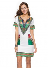 TBC African style short-sleeve knee-length dress s white