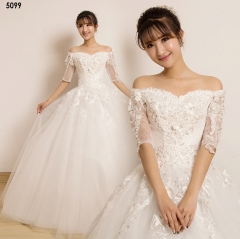 TBC Wedding dress elegant wedding gown Lovely dress half-sleeve Lace wedding gown s white