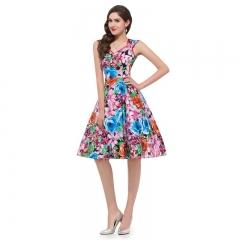 TBC Elegant flower dress knee-length sleeve-less PNCD1533 s red+blue