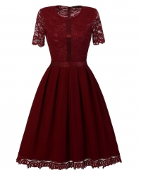 TBC Elegant lace dress knee-length 1/4-sleeves round-neck high-quality dress PNCD1557 s maroon