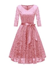TBC Elegant lace dress knee-length half-sleeves V-neck high-quality dress PNCD1592-1 s pink