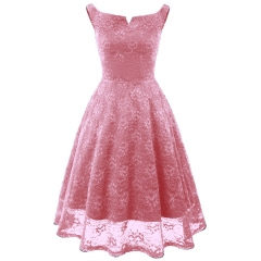 TBC Elegant lace dress knee-length sleeve-less off-shoulder high-quality dress PNCD1606 s pink