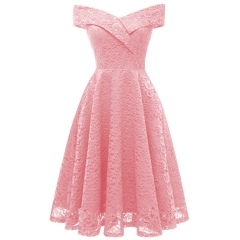 TBC Elegant lace dress knee-length sleeve-less off-shoulder high-quality dress PNCD1610 s pink