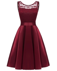 TBC Elegant dress knee-length sleeve-less round-neck high-quality dress PNCD1611 s maroon