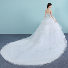 TBC Wedding dress flower decors off-shoulder ball gown with tail s white