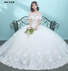 TBC Exclusive Wedding dress with unique lace pattern half-sleeves made-to-order gown s white