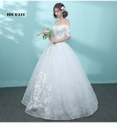 TBC Exclusive Wedding dress with unique lace pattern off-shoulder made-to-order gown s white