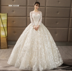 TBC Lace Wedding dress with unique lace pattern made-to-order gown long sleeves s white