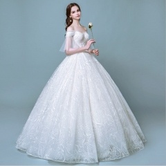 TBC Exclusive Wedding dress with unique lace patterns high-quality off-shoulder s white