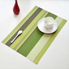 TBC Table mats PVC insulation mats with strips pattern green 4pcs 45*30cm