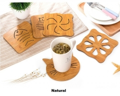 TBC Table mats Wooden insulation mats pattern 1 4pcs 14.5*14.5cm