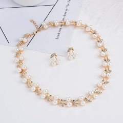 TBC Fashion pearl necklace+earring set for weddings and daily use Golden One size