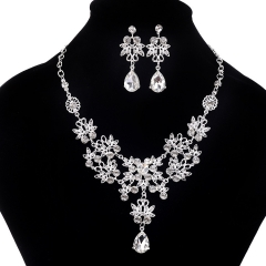 TBC Fashion Crystal necklace+earring set for weddings and daily use Silvery One size
