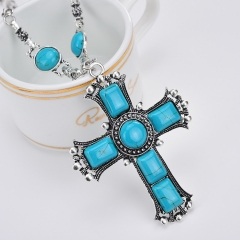 TBC Fashion Cross necklace with blue gems Blue One size