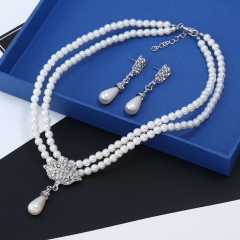 TBC Fashion pearl necklace+earring set for wedding special occasions Silvery One size
