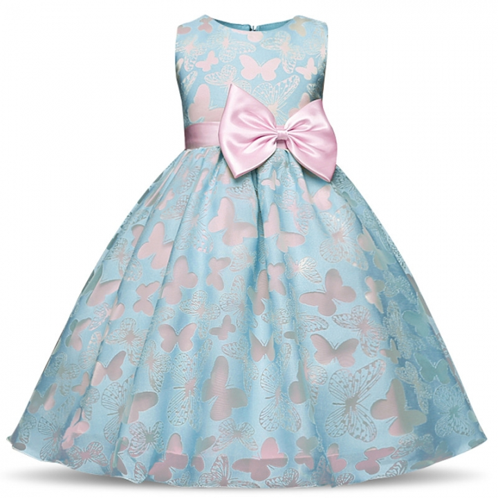 TBC Fancy big girl's dress non-sleeves with butterfly patterns blue 150