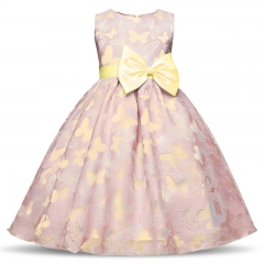 TBC Fancy big girl's dress non-sleeves with butterfly patterns peach 110
