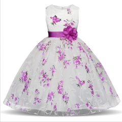 TBC Fancy big girl's white dress with flower patterns purple 110