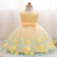 TBC Unique small girl's dress with flower patterns yellow 80