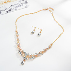 TBC Fashion crystal necklace+earring set for weddings 9102 Golden One size