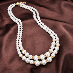 TBC 2in1 pearl necklace with diamond decors golden one size