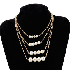 TBC 4in1 pearl necklace with fashion design golden one size