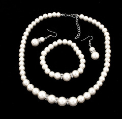 TBC Fashion pearl necklace+earrings+bracelet 3in1 set As shown one size