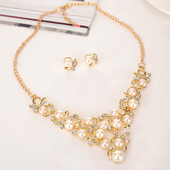 TBC Fashion pearl necklace+earring set for weddings and daily use 9217 Golden One size