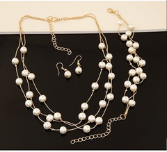 TBC 3in1 Elegant chain and pearl necklace+earrings+bracelet set golden one size