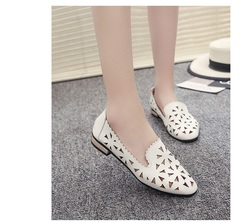 TBC Women's casual shoes cutout flats loafer shoes summer shoes low heel white 39