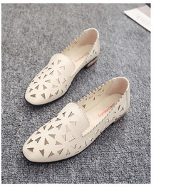 TBC Women's casual shoes cutout flats loafer shoes summer shoes low heel beige 40