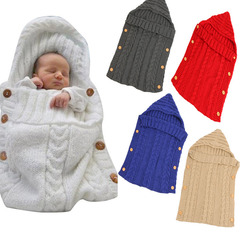 TBC Infant Sleeping bags wool knitted Sleeping sacs for strollers newborn baby hoodie wraps Milk 70*35cm
