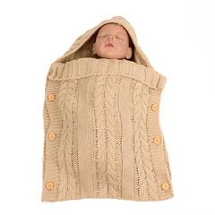 TBC Infant Sleeping bags wool knitted Sleeping sacs for strollers newborn baby hoodie wraps Beige 70*35cm