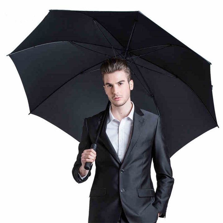 (NOT FOR SALE)Konka Windproof Semi Automatic long Unisex Creative Large Business Golf Umbrella BLACK
