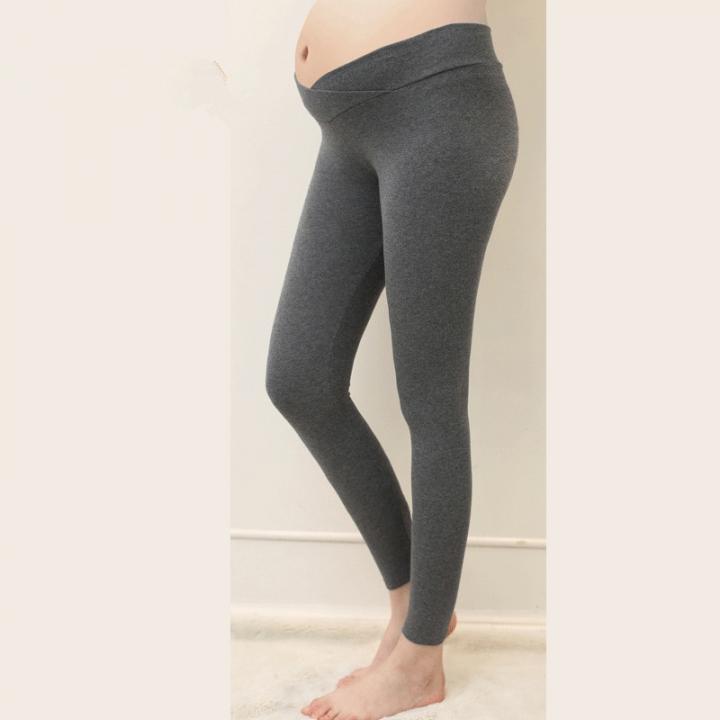 a13e3b6ecb587 maternity leggings Low Waist Pregnancy Belly Pants spring and autumn cotton  pregnant high elasticity dark grey