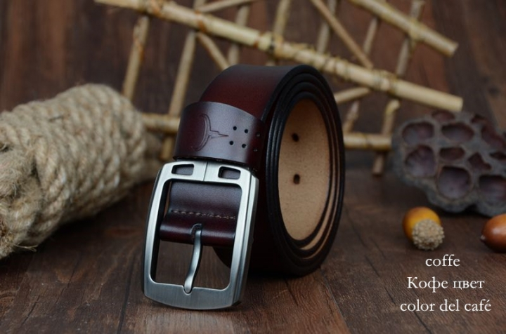 cowhide genuine leather belts for men brand Strap male pin buckle vintage jeans belt XF001 coffee 115cm