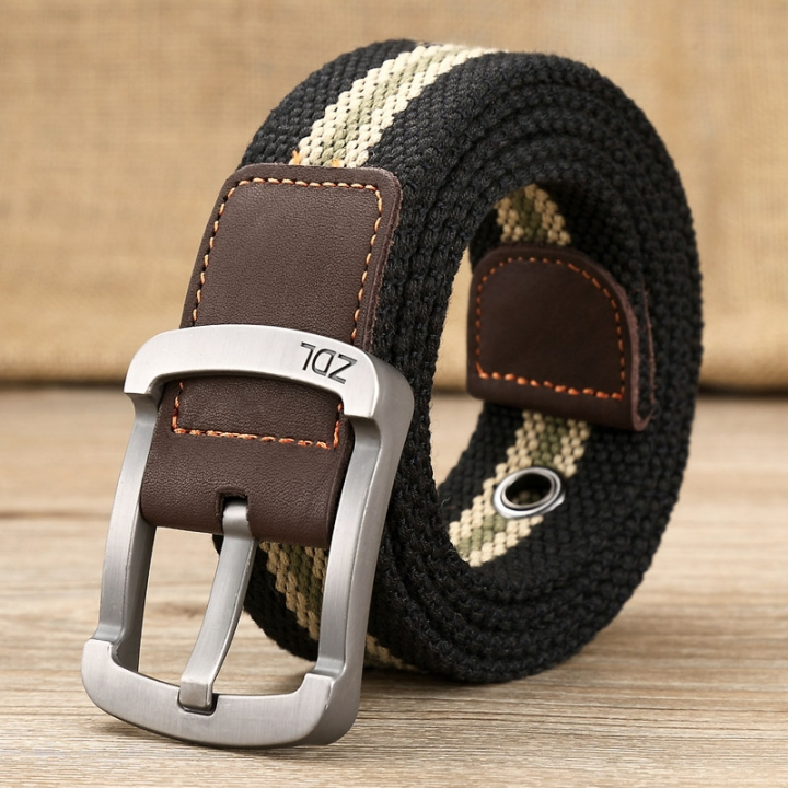 military belt outdoor tactical belt men&women high quality canvas belts for jeans male luxury casual black stripes one size