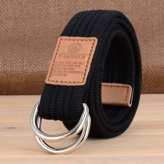 Men and women general canvas belt, leisure business jeans, double buckle belt, outdoor weaving black one size