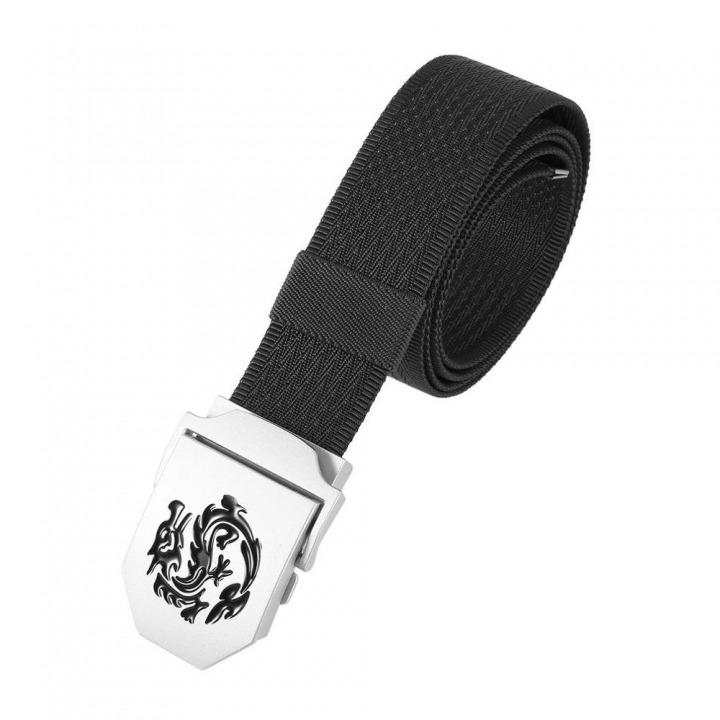Kilimall Mens Dragon Pattern Canvas Knitted Belt Automatic Buckle