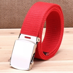 Military casual canvas belt, military tactical belt belt buckle belt red one size