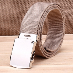 Military casual canvas belt, military tactical belt belt buckle belt apricot one size