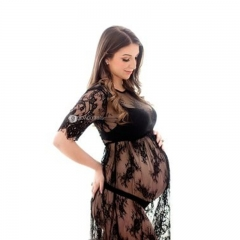 Le Couple Maternity Dresses Summer Maternity Photography Dress Lace Pregnant Women Dresses Fancy S black