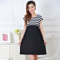 Women Long Dresses Maternity Nursing Dress for Pregnant Women Pregnancy Women's dress Clothing l Black stripes