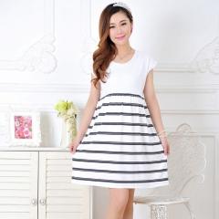 Women Long Dresses Maternity Nursing Dress for Pregnant Women Pregnancy Women's dress Clothing xxl White stripes