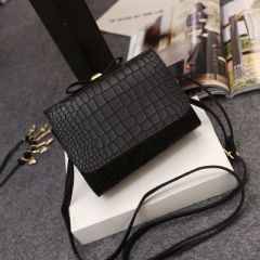 women's bag trend concise crocodile pattern single shoulder bag fashion casual bow skew spanning bag black one size