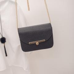 New Korean version of fashion slanting chain MINI bag single shoulder skew across women's bag black one size