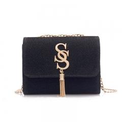 Small bag of women,super fire fashion tassel chic chain girl little satchel Joker shoulder bag black one size