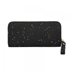 Long zipper ladies purse 2018 new fashion trends sequins star handbag hand wallet black one size