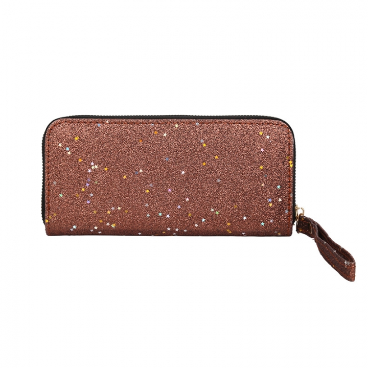 Long zipper ladies purse 2018 new fashion trends sequins star handbag hand wallet Brown one size