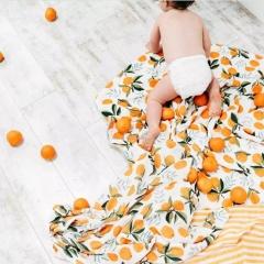 Bamboo fiber baby gauze scarf bath towel baby blanket bamboo fiber blanket Muslin gauze blanket. Orange 120*120cm